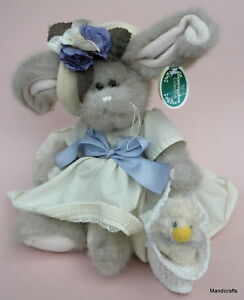 Bearington Easter Bunny Rabbit Tulip 14in & Ducky Duck Plush Hang Tag Dressed