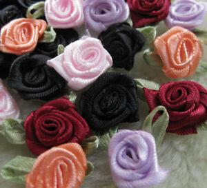 100pcs-Mini-Swirl-Satin-Ribbon-Rose-Flowers-Bows-Appliques-A306