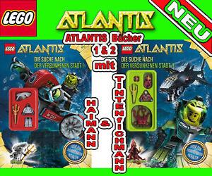 LEGO-Atlantis-Buch-1-amp-2-mit-Haimann-amp-Tintenfischmann