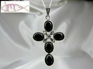 Large-Sterling-Silver-Black-Onyx-amp-Marcasite-Cross-Pendant-with-or-without-Chain
