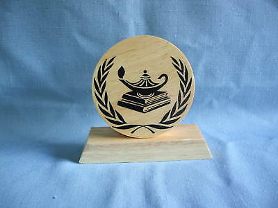 large round KNOWLEDGE Award  trophies wood ...