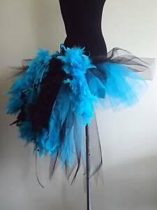 Image Is Loading Burlesque Black Blue Tutu Skirt Bustle Feathers Womans