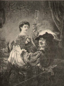 Rembrandt-With-His-Wife-Saskia-Sword-Antique-Print-1891