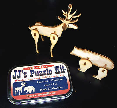 Wood Animal Puzzle Kit 2 Puzzles - 17 Pieces, Bear And Deer - Made In The Usa
