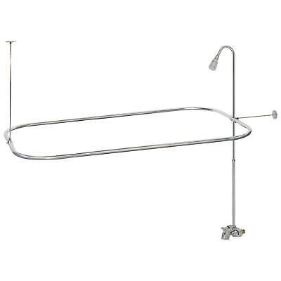 Clawfoot Tub Shower Faucet Kit W D Shape Curtain Bar EBay