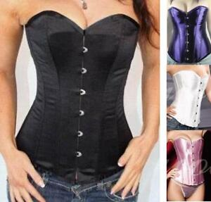 Womens-Lace-Overbust-Basques-Slim-Body-Corsets-Sexy-G-string-4-colors-S-6XL
