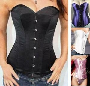 Women-Boned-Lace-Up-Overbust-Corset-G-string-4-colors