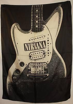 NIRVANA KURT COBAIN'S GUITAR Cloth Fabric Textile Poster Flag Banner Art-New!