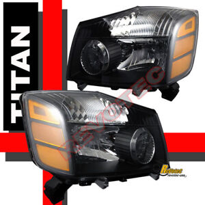 04 05 06 07 NISSAN TITAN ARMADA BLACK HEAD LIGHTS XE SE