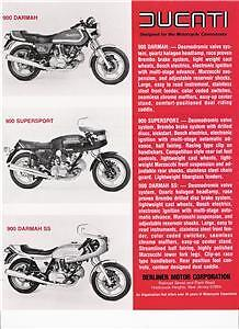1980 Ducati Darmah Sd, Darmah Ss, 900ss Red Brochure