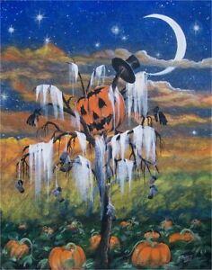 Folk art halloween pumpkin scarecrow print harvest fall ebay for Decoration list mhw