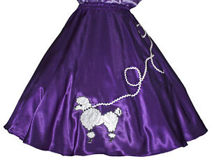 Purple-SATIN-50s-Poodle-Skirt-Adult-Sz-S-Waist-25-32