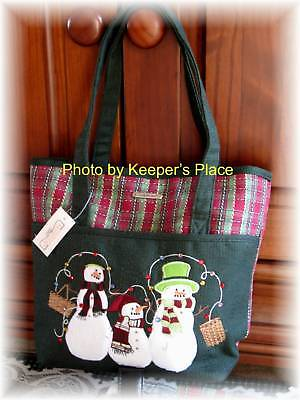 Longaberger Holiday Plaid Snowmen Basket Embroidered Bag Tote Purse With Tag