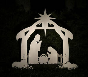 Christmas outdoor nativity scene yard nativity set ebay for 30 lighted nativity christmas window silhouette decoration