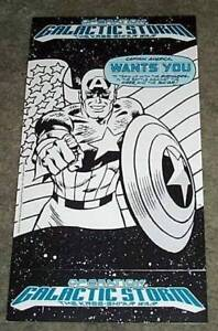1991-Captain-America-11x6-Marvel-Comics-promo-display-card-sign-Avengers-Romita