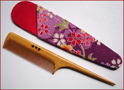 Japanese Bingushi Tsuge Wooden Comb with Camellia Oil