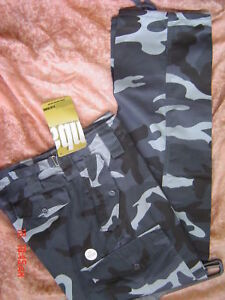 CAMOUFLAGED COMBAT ARMY CARGO TROUSERS SIZE 32 blue new