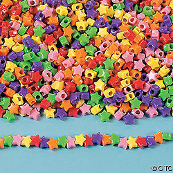 """50 Cool Star Pony Beads Multi Colored Plastic 3/8"""" size"""