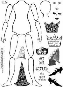 PAPER ART DOLL-Unmounted rubber stamps SHEET