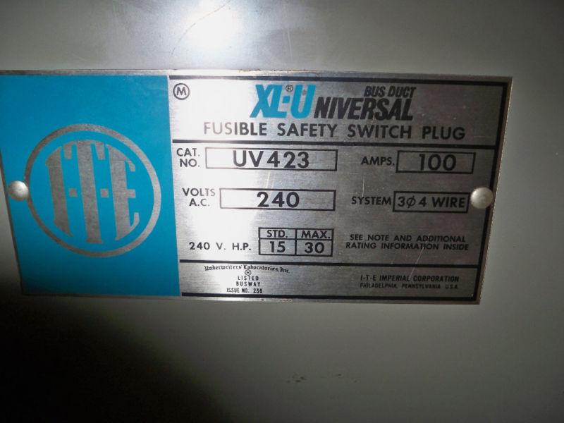 Ite Uv423 100a 3ph 4w 240v Xl-universal Fusible Bus Plug New Surplus