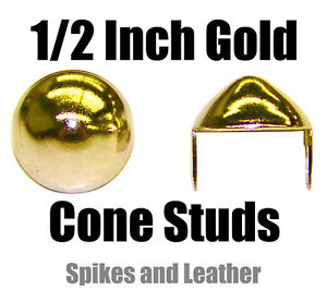 "500 Golden/Gold US-77 1/2"" (12 mm) Cone Studs Spikes Conical Stud Spot Tacks USA"