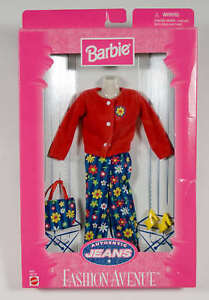 BARBIE FASHION AVENUE NEW AUTHENTIC JEANS MOD FLOWER OUTFIT MATTEL 19179