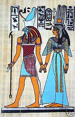 Ägypten Papyrus-Bild 30x40 Horus und Nefetari