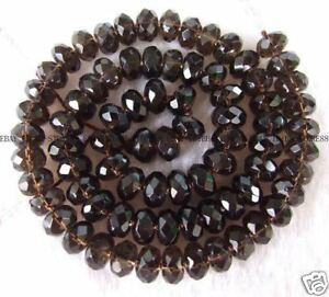 5x8mm-Smoky-Crystal-Roundel-Faceted-gemstone-Beads-15-039-039