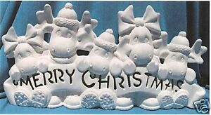 MERRY CHRISTMAS MOOSE! CLAY MAGIC CERAMIC BISQUE U-PAINT CHRISTMAS WWC #3277
