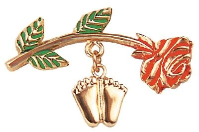 ProLife Support PRECIOUS FEET with ROSE Lapel Pin Gold Tone