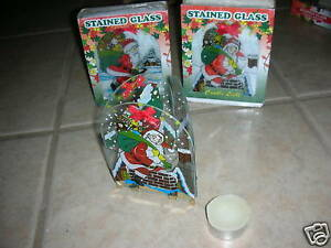 Stained-Glass-Santa-Candle-Holder-w-Tea-Lights-New