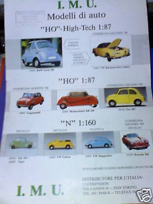 Depliant Catalogo treni IMU Modelli auto HO 1989