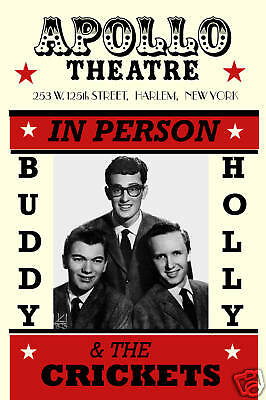 Rockabilly: Buddy Holly & Crickets at Apollo Theatre Harlem Concert Poster 1957