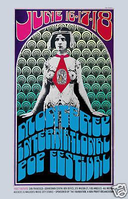 Classic Psychedelic  Rock Festival : Monterey Pop Concert Poster Circa 1967
