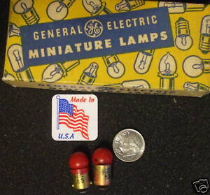 GE-L-53-301-R-RED-14-v-x2-NOS-USA-Train-LIONEL-A-F-Bulb-Ba9s-Base-Lamp-Free-Ship