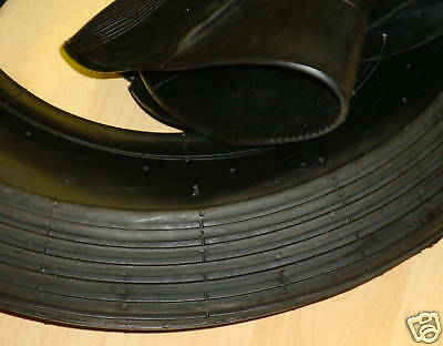 3.50-8 Tyre & Tube Multi Rib Bent Valve Wheelbarrow Go Kart Trailer Smooth