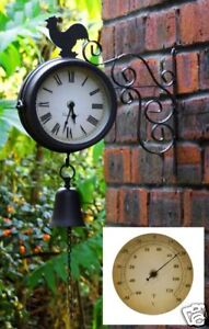 Cockerel and Bell Outdoor Bracket Clock Thermometer Garden Wall Station Dia 15cm