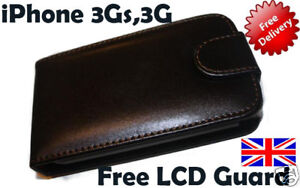 LEATHER-CASE-FOR-APPLE-iPHONE-3GS-3G-Free-LCD-Guard-UK