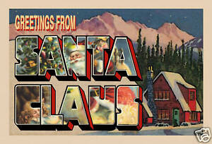 Large-Letter Greetings From Santa Claus Postcard (1)