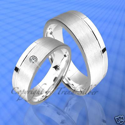 Herrlich 2 Ringe Trauringe Stein Silber 925 J56-1 Eheringe M