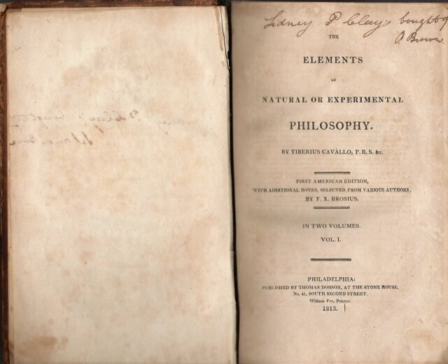 THE ELEMENTS OF NATURAL OR EXPERIMENTAL PHILOSOPHY