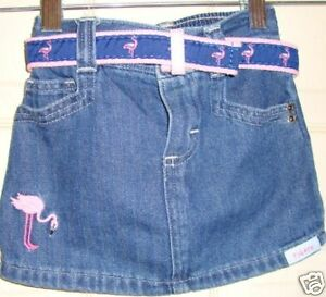 EMBROIDERED-FLAMINGO-girl-DENIM-belted-SKIRT-12-MO-034-euc-034-REALLY-CUTE