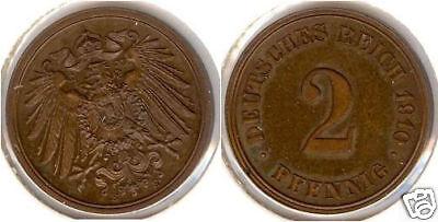 Kaiserreich  2 Pfennig 1910 E  PP-