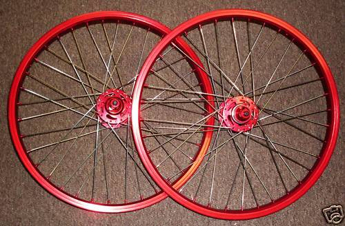 Old School Style 20  Bike Wheels Wheelset In Red Ano Bmx Freestyle Sealed Hub