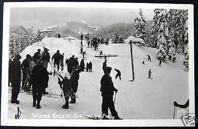 Snoqualmie Pass Wa 1940S Ski Skiing   Ellis Rppc