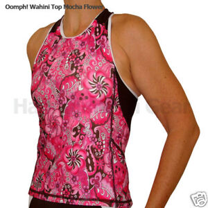 $72 TRIATHLON Oomph WOMENS WAHINI TOP JERSEY SWIM BIKE RUN L mocha Flower
