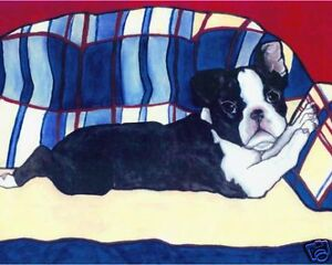 BOSTON-TERRIER-Puppy-on-Couch-8x10-Signed-Dog-Art-PRINT-of-Oil-Painting-by-VERN