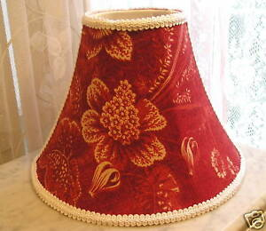 11-LAMP-SHADE-Waverly-Vintage-Rose-Toile-fabric-red-white-Shabby-Cottage