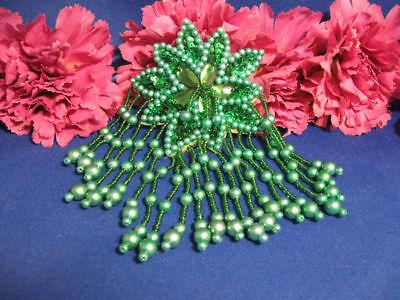 Green Epaulet Sequin Beaded Applique 0973-m