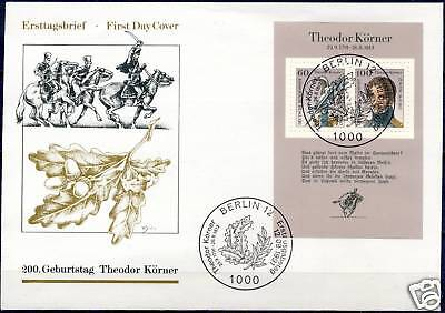 BRD 1991: Theodor Körner! FDC mit Block Nr. 25! Berliner Sonderstempel! 1703